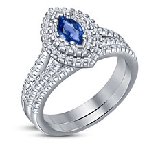 Marquise Cut Blue Sapphire Womens Double Halo Engagement Ring Set in 925 Silver - $94.99
