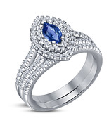Marquise Cut Blue Sapphire Womens Double Halo Engagement Ring Set in 925... - $75.99
