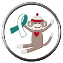 Sock Monkey Cervical Cancer Teal White Ribbon Fight 18MM-20MM Snap Jewel... - $5.95