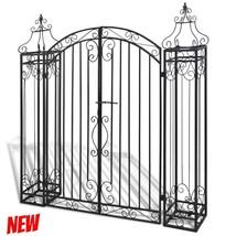 Driveway Garden Entry Metal Gate System Yard Fence Home Swing Door Wroug... - $266.52