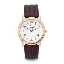 Speidel Item 60331710 Men's Watch Goldtone Brown Leather Band - $41.80