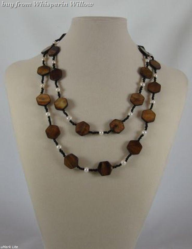 Primary image for Brown Shell, Cultured Fresh Water Pearl and Glass Fashion Necklace