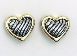 Mixed Metal Silver Gold Tone Etched Heart Clip On Earrings - $17.82