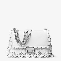 Michael Kors Sloan Small Floral Scalloped Leather Shoulder Bag Optic White - $200.00