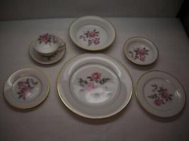 VINTAGE Noritake CHINA 7 Piece PLACE SETTING Lindrose PATTERN Pink FLORA... - $68.56