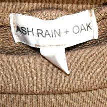 Ash Rain + Oak Brown Raw Hem Cold Shoulder 100% Cotton Pullover Sweatshirt S image 3