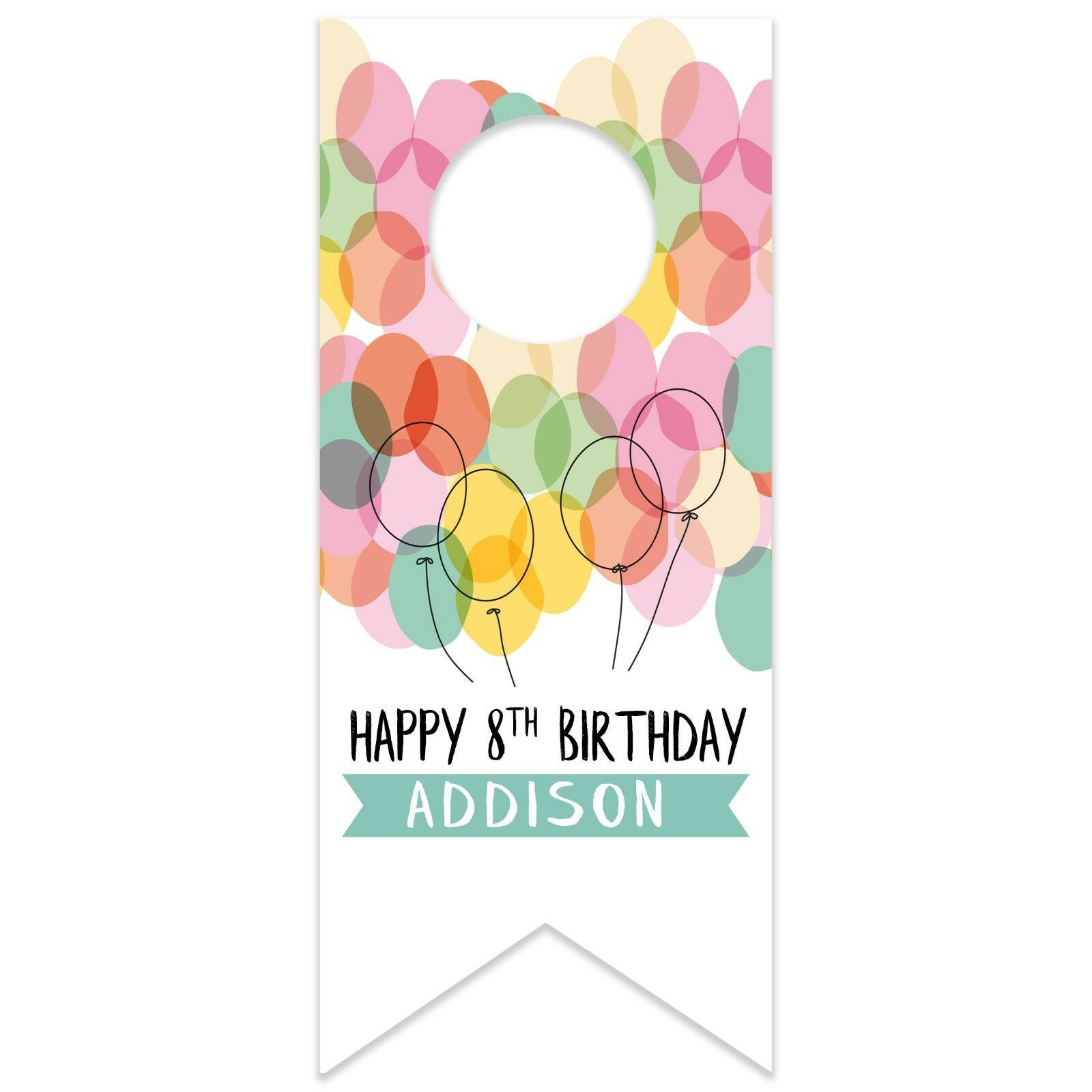 Watercolor Balloons Birthday Personalized Water Bottle Hang Tag