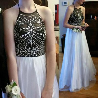 black and white halter long chiffon prom dresses,BD101