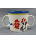 Dalmatian Dog Tiffany Fire Station Child's Mug Fireman Cup Double Handle... - $29.69