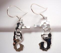 Hammered Seahorse Dangle Earrings 925 Sterling Silver Corona Sun Jewelry... - $16.82