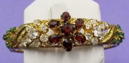 Estate Ornate Hinged Bangle Emeralds, Red Garnets & CZs Floral Bracelet W79 - $31.68