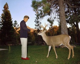 President John F. Kennedy feeds deer at California National Park New 8x1... - $8.81
