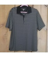 Greg Norman Play Dry Golf Polo Black and White Stripes Size Medium - $22.26