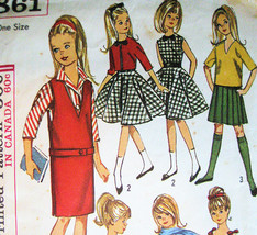 Simplicity 5861 Vintage 60s Wardrobe for 9 Inch Doll Skipper - $15.95