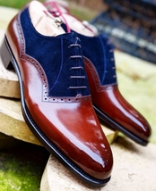 Handmade Men's Burgundy & Blue Dress/Formal Leather & Suede Oxford Shoes image 3