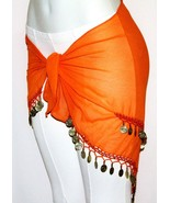 Orange Sheer BellyDance BELLY Dancing Burlesque COIN HIP SCARF BELT WRAP... - $11.08