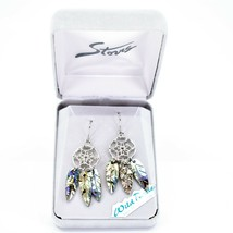A.T. Storrs Wild Pearle Abalone Shell Filigree Dreamcatcher Dangle Hook Earrings image 1