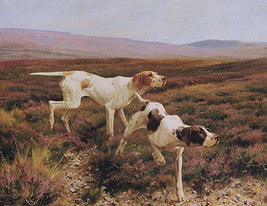 Dog Two Pointers In A Field Hunting Animal Painting By Thomas Blinks Repro - $10.96+