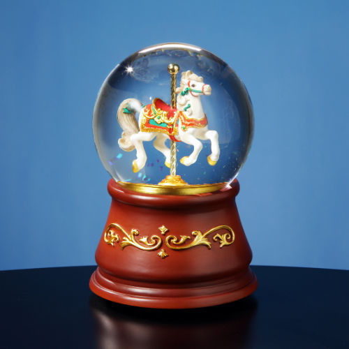 San Francisco Music Box Heritage Rotating Single Horse Water Globe