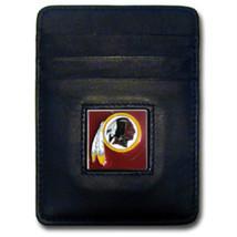 WASHINGTON REDSKINS NFL BLACK LEATHER PEWTER LOGO CREDIT CARD/MONEY CLIP... - €17,09 EUR