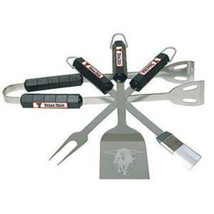 TEXAS TECH RED RAIDERS NCAA SPORTS LOGO 4 PIECE BBBQ SET MADE OF STAINLE... - €29,69 EUR