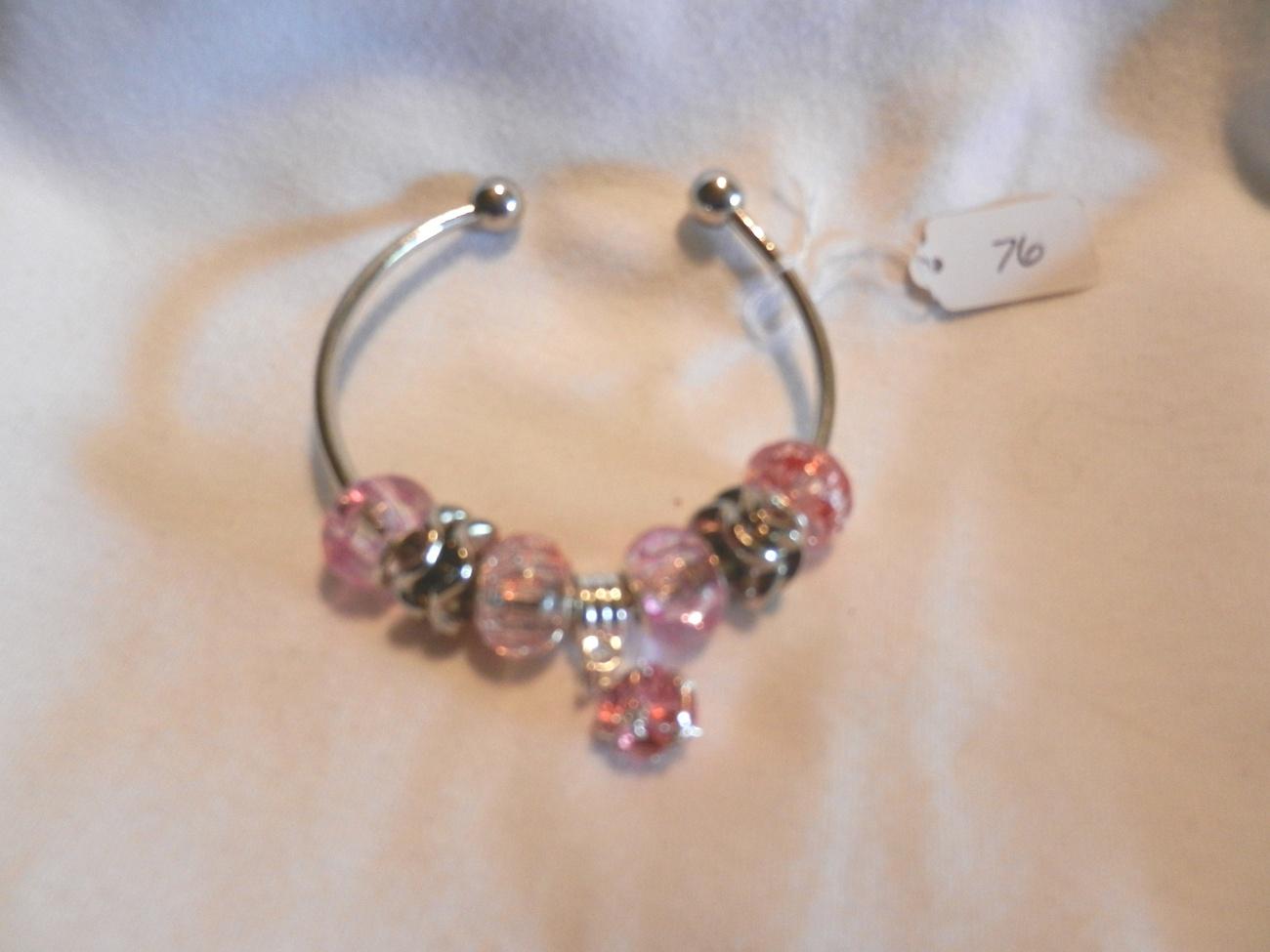 new charm bracelet pink charm bracelet silver light pink