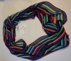 Calvin Klein Infinity Cowl Scarf Loop Wide Stripes Multiple Colors Polye... - €17,89 EUR