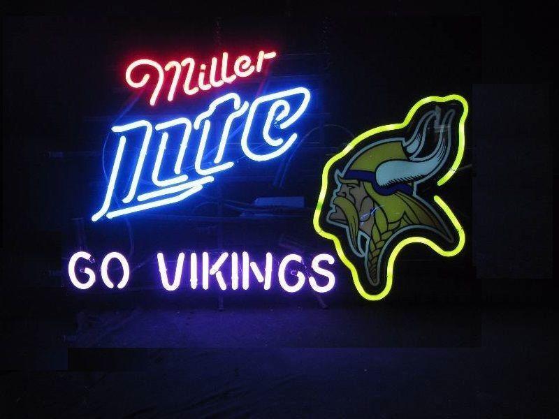 "New Miller Lite Minnesota Vikings NFL Neon Sign 24""x20"" Ship From USA"