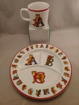 Tiffany & co. ABC Alphabet Bears Child ceramic Divided Plate & Mug Set 1994 - $38.98