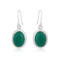 Green Onyx 925 Sterling Silver Vintage Style Handmade Oval Dangle Drop E... - $22.99