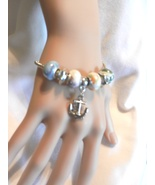 NeW Anchor Charm Bracelet, Beach, Ship , European Beads Bangle Bracelet - $4.99