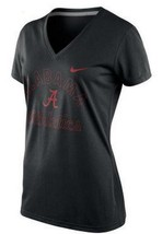 New Womens Black University Alabama Crimson Tide Dri-Fit Nike V-Neck Legend Tee - $21.99