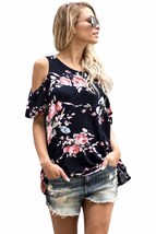 Pink Floral Print Black Background Womens Top - $16.36