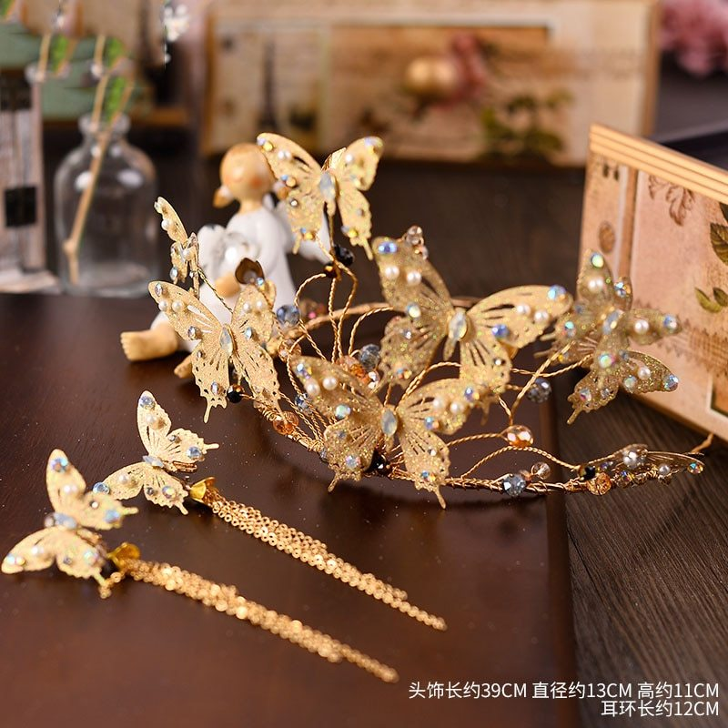 Baroque Gold Metal Butterfly Headband Hairband Gold Crown Tiara Wedding Hair Acc
