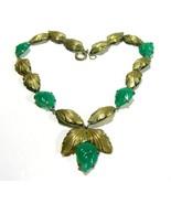 VINTAGE ART DECO NOUVEAU GREEN POURED GLASS LEAVES ANTIQUE BRASS ESTATE ... - $150.00
