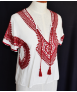 FOREVER 21 Blouse Top S Red Embriodered Lace Red Tassels V Cut Cap Sleev... - $17.00