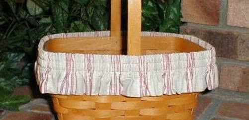 Primary image for Longaberger Basket Garter Only Medium Size Awning Stripe Fabric  New In Bag