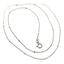 """18K WHITE GOLD CHAIN MINI THIN CIRCLE ROLO 1mm ALTERNATE FACETED CUBES 16"""" image 1"""