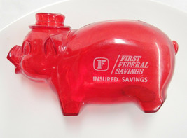 Vintage Advertising Piggy Bank First Federal Savings Clear Red Plastic 4... - $14.84