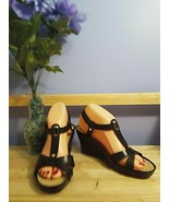Geox Respira Black Strappy Woven Wedge Heel Sandals Size EU 38.5 / US 8.5 - $29.69
