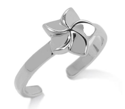 Women's Adjustable Plumeria Toe Ring 14k White Gold Plated 925 Sterling Silver - $9.99