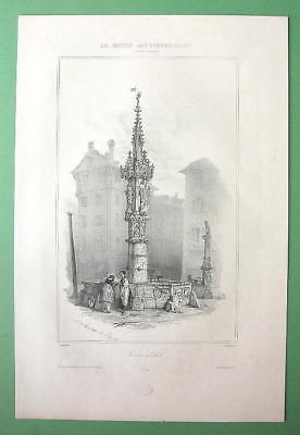 SWITZERLAND Fountain at Basel -  1838 Fine Quality Litho Print image 2