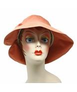 Orange Rust Wide Brim or Cloche Style Sun Hat w Bow - Brim Down or Folde... - $24.00