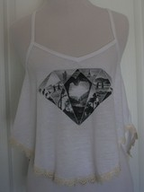 HOLLISTER Size Small White Tank Black and White Diamond Shaped Pics Embr... - $9.89