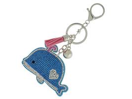 Blue Whale Faux Suede Tassel Stuffed Pillow Key Chain Handbag Charm - $12.95