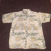 Big Dog Hawaiian Poppy 2X Shirt Volcano Waves Button Front Short Sleeve - $19.95