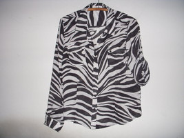 Lot Calvin Klein Michael Kors Black White Zebra Animal Print Button Blouses S M - $19.79