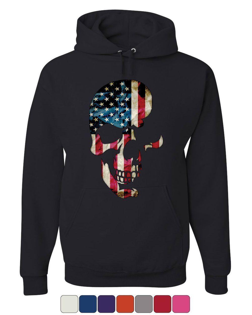 Skull Americana Hoodie Patriotic 4th of July Stars and Stripes Sweatshirt - $29.63 - $37.99