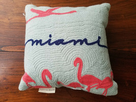 """Pottery Barn Embroidered Miami Pillow Design Front 11.5"""" x 11.5"""" - $19.75"""