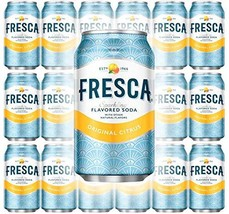 Fresca Original Citrus, Sparkling Flavored Soda, 12 oz Can Pack of 18, Total of